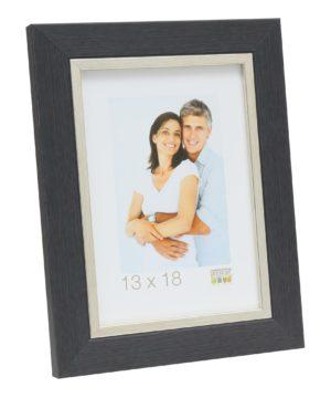 Fotolijst kunststof in grijs met zilverbiesunststof in grijs met zilverbies